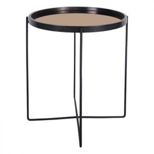 ANZIO SMALL ROUND SATIN BLACK TABLE WITH ROSE GOLD MIRROR TOP