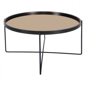 ANZIO LARGE ROUND SATIN BLACK TABLE WITH ROSE GOLD MIRROR TOP