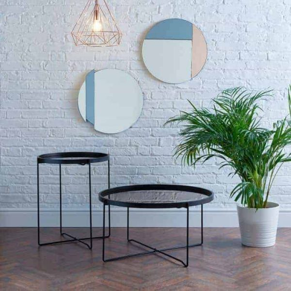 ANZIO SMALL ROUND SATIN BLACK TABLE WITH ROSE GOLD MIRROR TOP  Thompsons Lighting & Interiors