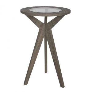 ERIN PLANT STAND OAK STYLE VENEER WITH GLASS TOP