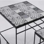 FOCSAMI NEST OF TWO TABLES GREY & WHITE PATTERN TOP