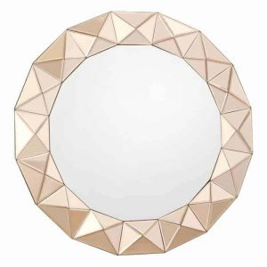 CETARA ROUND ROSE GOLD 3D BORDER MIRROR 80CM