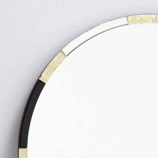 GADANY ROUND GOLD LEAF AND BLACK GLASS MIRROR 80CM  Thompsons Lighting & Interiors
