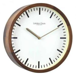 WALNUT FINISH WOODEN CASE WALL CLOCK