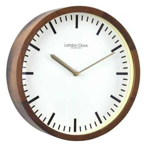 WALNUT FINISH WOODEN CASE WALL CLOCK  Thompsons Lighting & Interiors