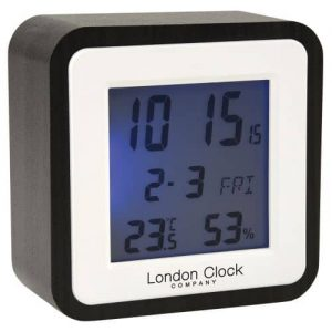 DARK WOOD SQUARE DIGITAL ALARM CLOCK