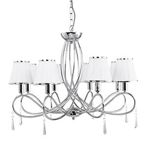 SIMPLICITY CHROME 8 LIGHT FITTING GLASS DROPS & WHITE STRING SHADES