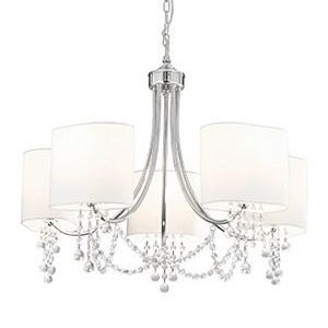 NINA CHROME 5 LIGHT FITTING WITH CRYSTAL BEADS & WHITE FABRIC SHADES