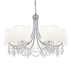 NINA CHROME 8 LIGHT FITTING CRYSTAL WHITE FABRIC SHADES