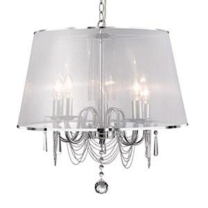 VENETIAN CHROME 5 LIGHT FITTING WHITE VOILE SHADE & CHAIN LINK