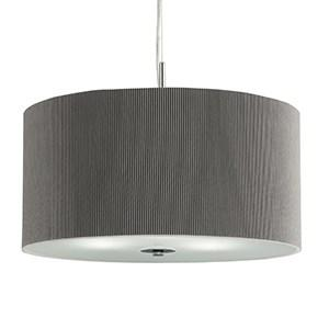 SILVER DRUM PLEAT 3 LIGHT PENDANT FROSTED GLASS DIFFUSER