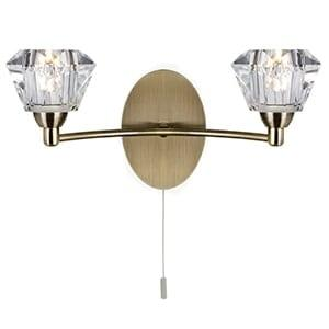 SIERRA ANTIQUE BRASS 2 LIGHT WALL LIGHT WITH SCULPTURED GLASS SHADES