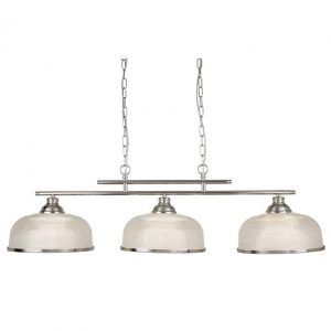 BISTRO II – 3 LIGHT CEILING BAR, SATIN SILVER, CRYSTAL GLASS, ADJUSTABLE HEIGHT