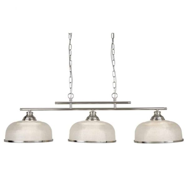 BISTRO II - 3 LIGHT CEILING BAR, SATIN SILVER, CRYSTAL GLASS, ADJUSTABLE HEIGHT Thompsons Lighting & Interiors