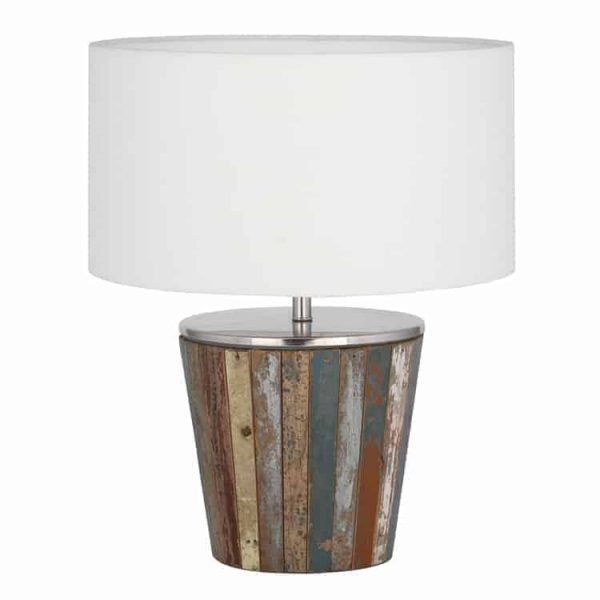 RECLAIMED WOOD TAPERED LAMP COMPLETE  Thompsons Lighting & Interiors