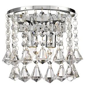 HANNA CHROME 2 LIGHT ROUND WALL LIGHT WITH DIAMOND SHAPE CRYSTALS