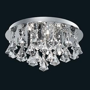 HANNA CHROME 4 LIGHT SEMI-FLUSH WITH DIAMOND SHAPE CRYSTALS