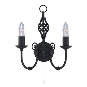 ZANZIBAR METAL BLACK 2 LIGHT WALL LIGHT