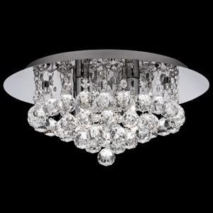 HANNA CHROME 4 LIGHT SEMI-FLUSH WITH CLEAR CRYSTAL BALLS FITTING