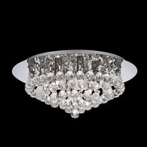 HANNA CHROME 6 LIGHT SEMI-FLUSH CLEAR CRYSTAL BALLS FITTING