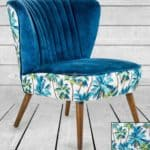 BLUE TROPICAL VELVET STYLE CHAIR