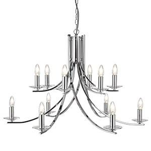 ASCONA CHROME 12 LIGHT FITTING CLEAR GLASS SCONCES