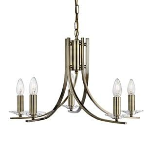 ASCONA ANTIQUE BRASS 5 LIGHT FITTING WITH CLEAR GLASS SCONCES
