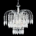 WATERFALL CHROME 3 LIGHT CEILING FITTING CRYSTAL DROPS DECORATION