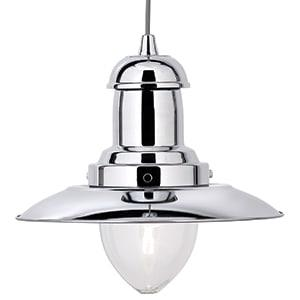FISHERMAN CHROME LIGHT WITH CLEAR GLASS SHADE