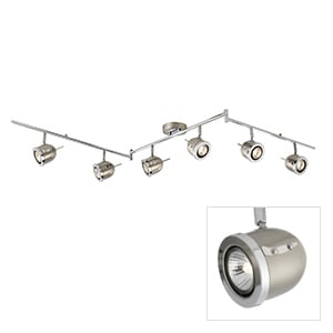 PALMER SATIN SILVER 6 LIGHT WITH CHROME TRIM