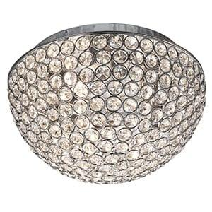 CHANTILLY CHROME 3 LIGHT FLUSH FITTING WITH CLEAR CRYSTAL BUTTONS