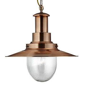 LARGE FISHERMAN COPPER PENDANT LIGHT WITH OVAL SEEDED GLASS SHADE