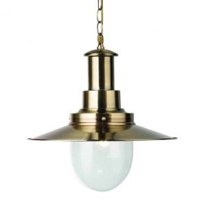 LARGE FISHERMAN ANTIQUE BRASS PENDANT WITH OVAL SEEDED GLASS SHADE