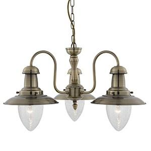FISHERMAN ANTIQUE BRASS 3 LIGHT FITTING WITH OVAL SEEDED GLASS SHADES