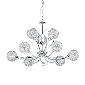 BELLIS II CHROME 9 LIGHT FITTING CLEAR METAL GLASS SHADES