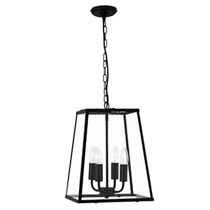 VOYAGER MATT BLACK TAPERED 4 LIGHT LANTERN WITH CLEAR GLASS METAL PANELS