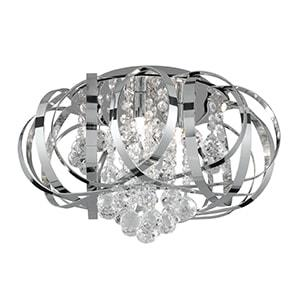 TILLY CHROME 3 LIGHT FLUSH FITTING, CLEAR CRYSTAL