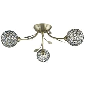 BELLIS II ANTIQUE BRASS 3 LIGHT CLEAR GLASS METAL SHADES