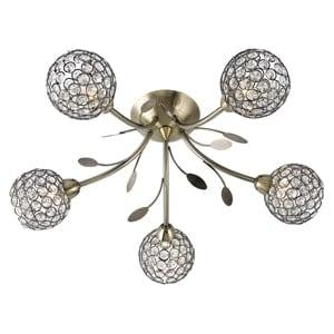 BELLIS II ANTIQUE BRASS 5 LIGHT FITTING WITH CLEAR GLASS METAL SHADE