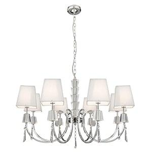 PORTICO CHROME 8 LIGHT FITTING WITH CRYSTAL DROPS & SQUARE WHITE STRING SHADES