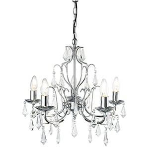 MARTINA CHROME 5 LIGHT CHANDELIER CRYSTAL TRIMMINGS, ADJUSTABLE