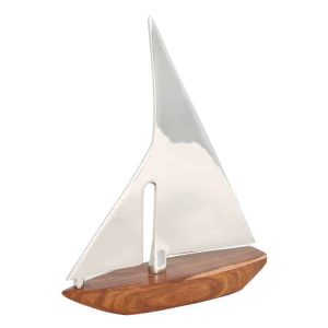 Nickel and Wood Sailing Boat