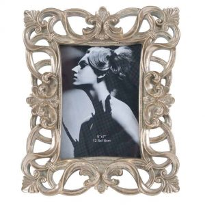 Gold Polyresin & Glass Oblong Photo Frame Large 5×7