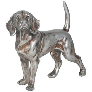 Silver Polyresin Beagle Dog Decoration