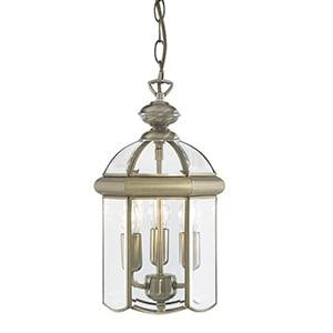 LANTERN ANTIQUE BRASS 3 LIGHT, BEVELLED GLASS SHADE