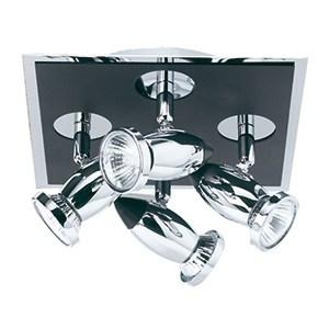 COMET DIE CAST ALUMINIUM CHROME & BLACK 4 LIGHT SPOTLIGHT, ADJUSTABLE HEADS