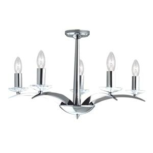 KENSINGTON CHROME 5 LIGHT FITTING WITH CUT GLASS SCONCES