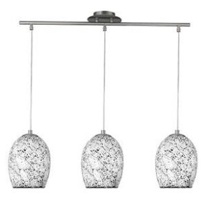 CRACKLE WHITE MOSAIC GLASS 3 LIGHT FITTING WITH DOME SHADES & SATIN SILVER TRIM