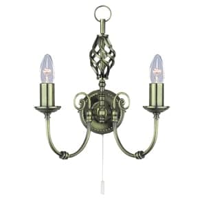 TRADITIONAL ZENA ANTIQUE BRASS 2 LIGHT WALL