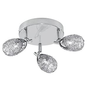 MESH CHROME 3 LIGHT SPOTLIGHT WITH WIRE MESH SHADES, ADJUSTABLE ARMS